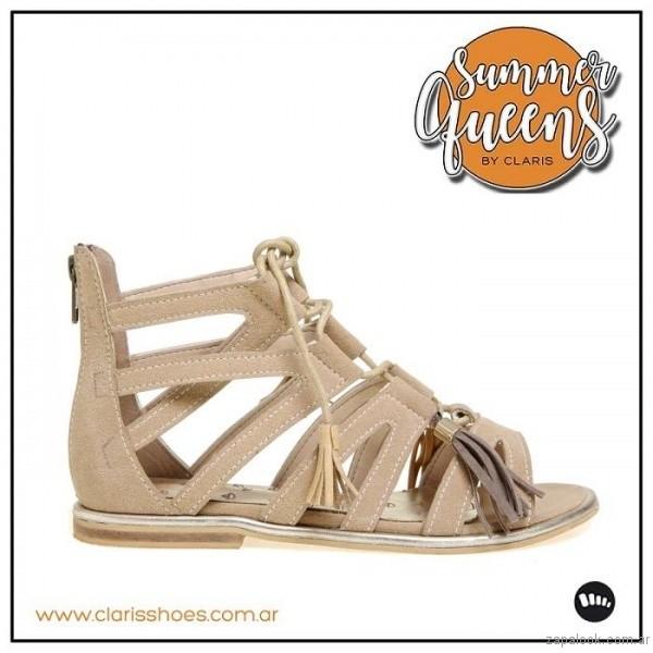 sandalia beige verano 2017 claris shoes