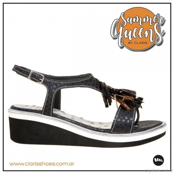 sandalia negra chatita verano 2017 claris shoes