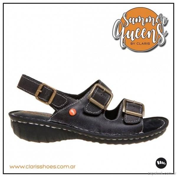 sandalia negra verano 2017 claris shoes