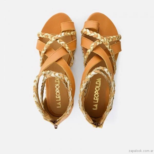 sandalias chatitas cuero trenzado calzado la leopolda verano 2017
