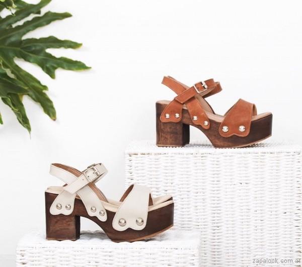 sandalias con taco ancho base de madera verano 2017 priscila bella