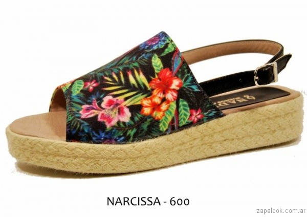 sandalias de tela estampada con base de yute verano 2017 nadia bs as