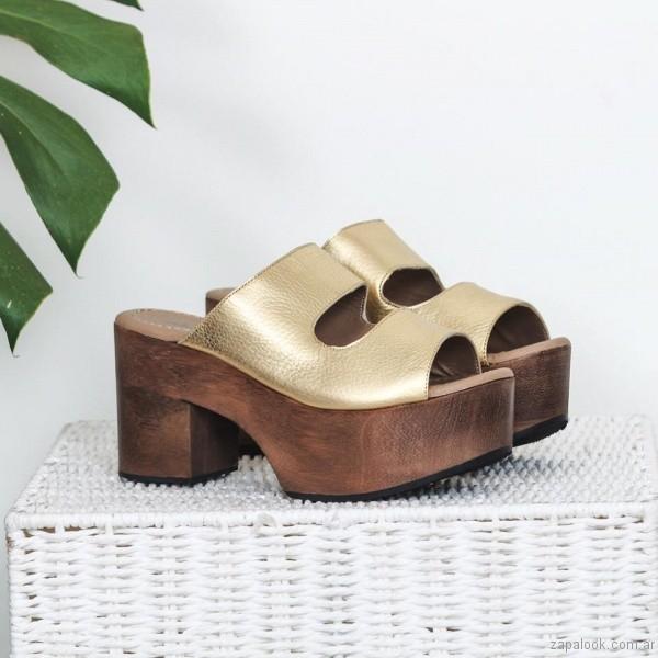 sandalias doradas base de madera verano 2017 priscila bella