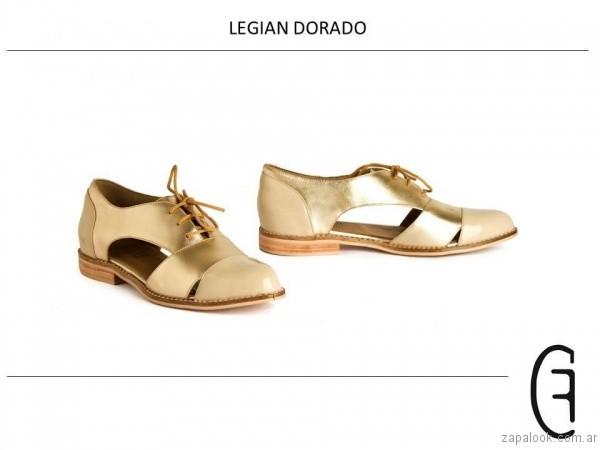 zapatos abotinados dorados verano 2017 cestfini