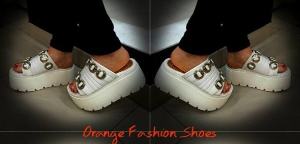 orange fashion shoes sandalias con base verano 2017