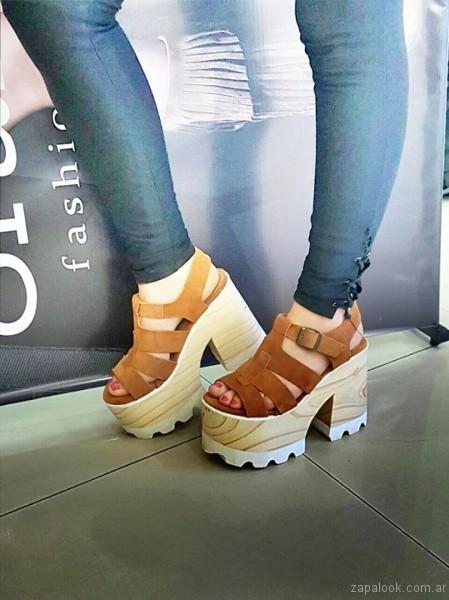 sandalias base de madera verano 2017 orange fashion shoes