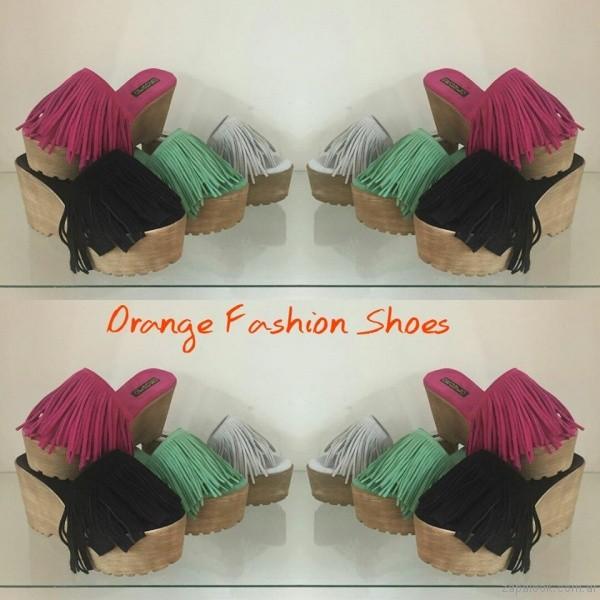 sandalias con flecos verano 2017 orange fashion shoes