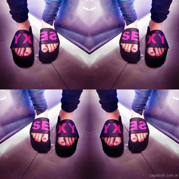 sandalias con frases verano 2017 orange fashion shoes