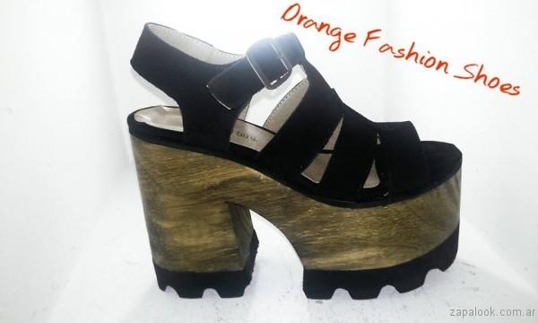 sandalias negras base de madera verano 2017 orange fashion shoes