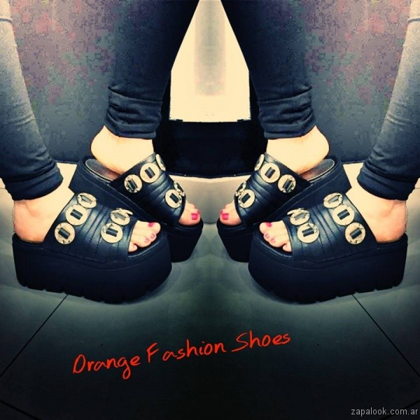 sandalias negras verano 2017 orange fashion shoes