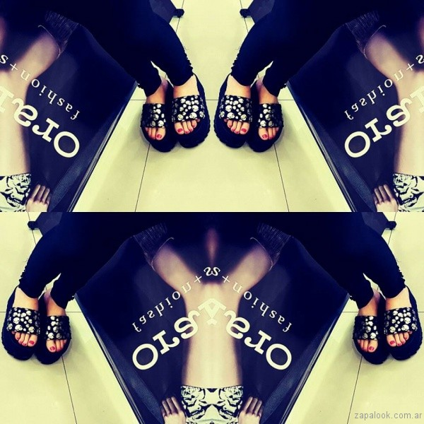sandalias negras y plateadas verano 2017 orange fashion shoes