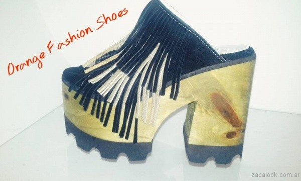 zuecos con flecos verano 2017 orange fashion shoes