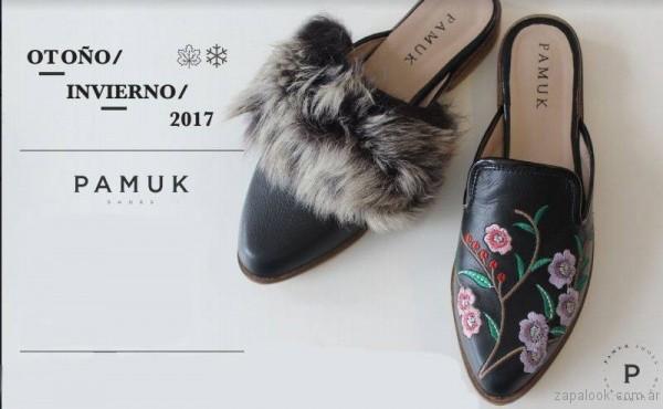 zapatos en punta con pelo o bordados invierno 2017 pamuk