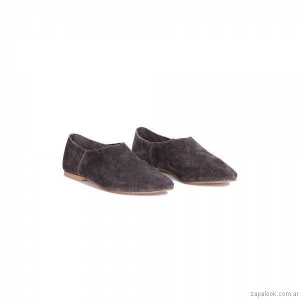 zapatos en punta planos gamuza gris invierno 2017 - Viamo calzados