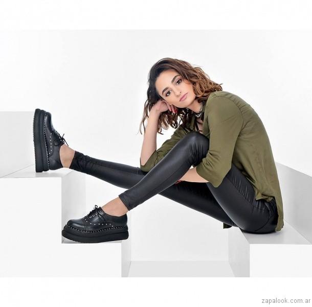 zapatos abotinados negros otoño invierno 2017 - Kaitz