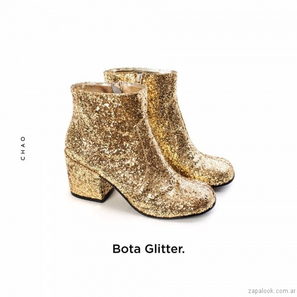 botas doradas invierno 2017 - Chao Shoes