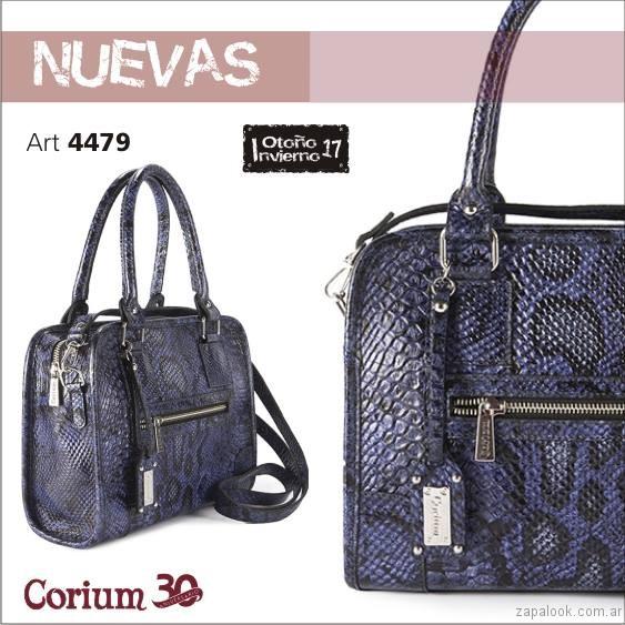 cartera de reptil azul Corium invierno 2017