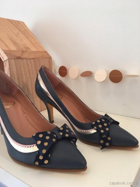 stilettos azules con moños invierno 2017 - Alfonsina Fal