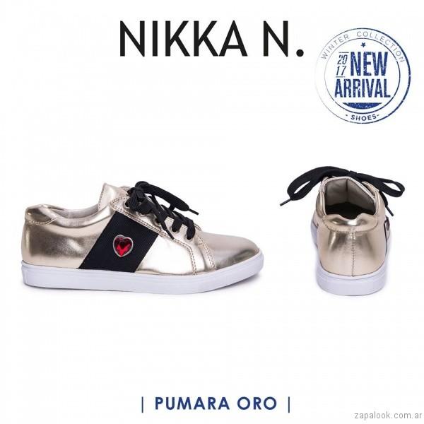 zapatillas metalizadas inierno 2017 Nikka N. by Nicole Neumann