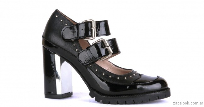 zapatos punta redonda de charol new factory