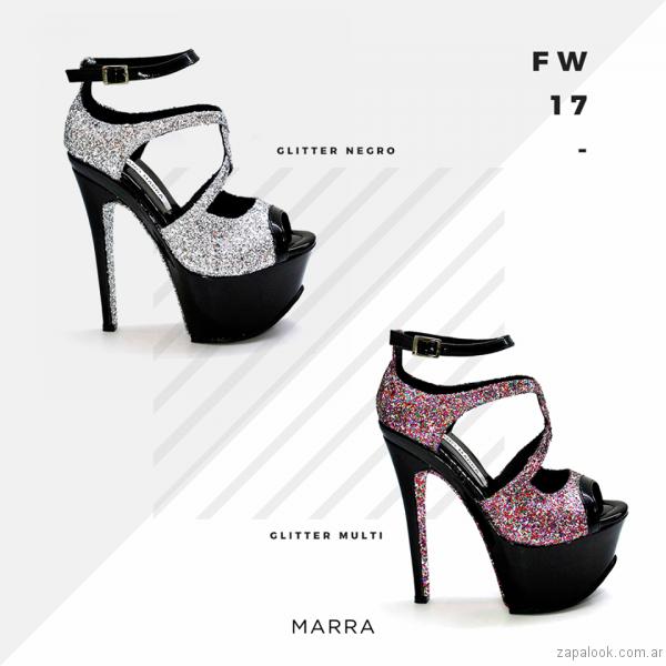 sandalias de glitter con plataforma Luciano Marra - Calzados invierno 2017