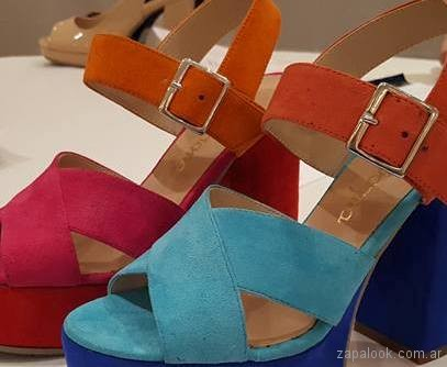 Sandalias de colores altas verano 2018 - Gravagna