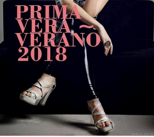 Sandalias plateadas para fiestas verano 2018 - Alfonsa Bs As