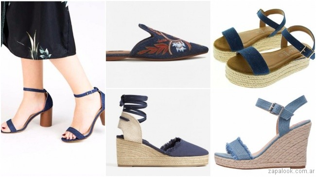 2b3652a61 ... Sandalias y zapatos de tela de jean de moda primavera verano 2018 ...