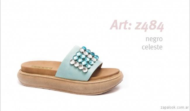 Sandalias con base alta con apliques de perlas y stras primavera verano 2018 - calzados Traza