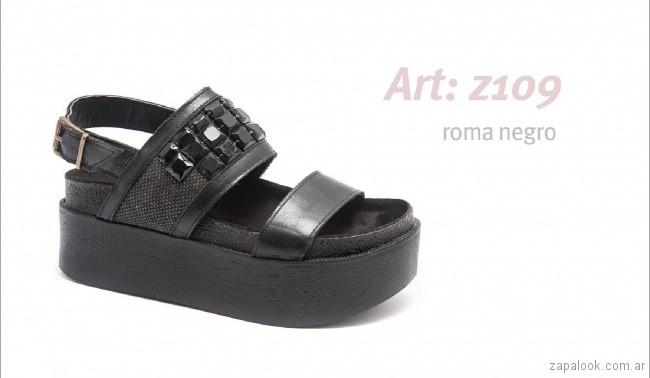 Sandalias con base alta negra primavera verano 2018 - calzados Traza