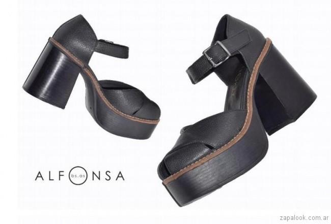 Sandalias negras primavera verano 2018 Alfonsa bs as
