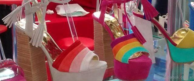 Sandalias taco alto multicolor verano 2018 - Bonzini