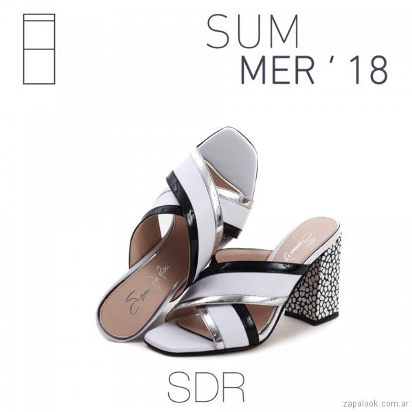 Sandalias en blanco y negro verano 2018 - Saverio di Ricci
