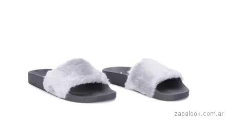 Sandalias planas con pelo sintetico blanco verano 2018 - Viamo