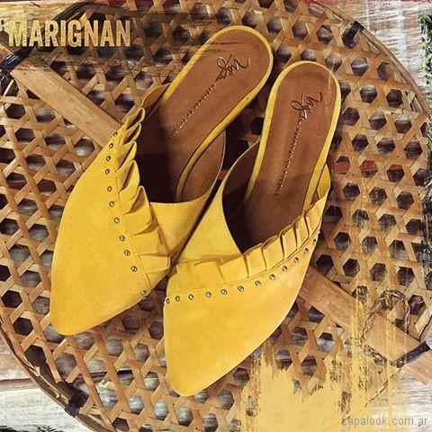 Zapatos bajo con punta sin talon - mules amarillos verano 2018 - Marignan