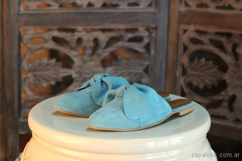 Zapatos bajo con punta sin talon - mules celestes verano 2018 - Marignan