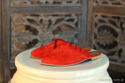 Zapatos bajo con punta sin talon - mules rojos verano 2018 - Marignan