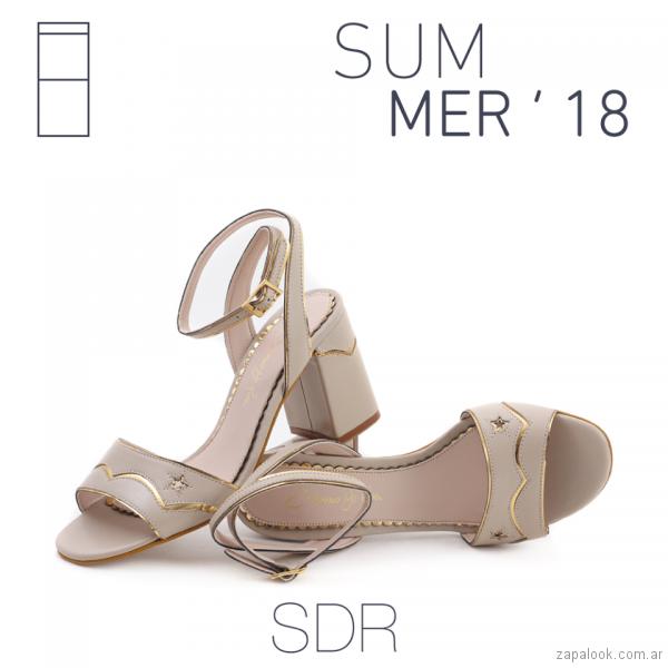 sandalias crema y dorada verano 2018 - Saverio Di Ricci