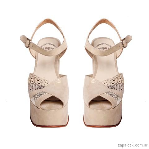 sandalias para novias con plataformas color crema con plataformas verano 2018 - LOMM