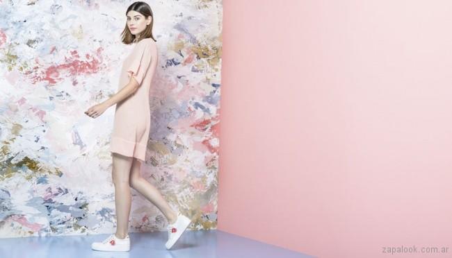 zapatilla blanca bordada - calzado juvenil verano 2018 - Sofi Martiré