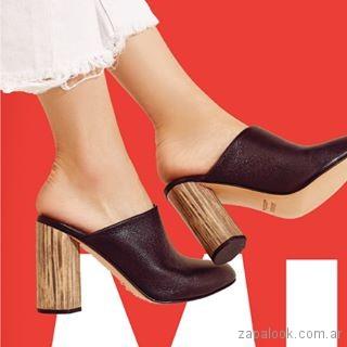 zapatos tacos redondo simil madera MISHKA primavera verano 2018