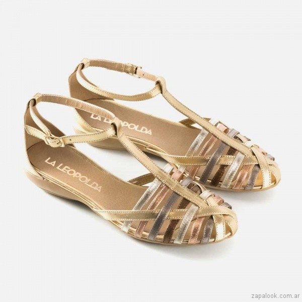 sandalias bajas doradas primavera verano 2018 - La Leopolda