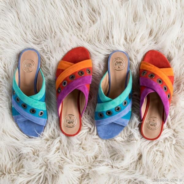 sandalias de gamuza coloridas verano 2018 - Clara Barcelo