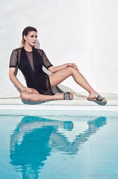 sandalias-planas-Green and Black Shoes-verano-2018