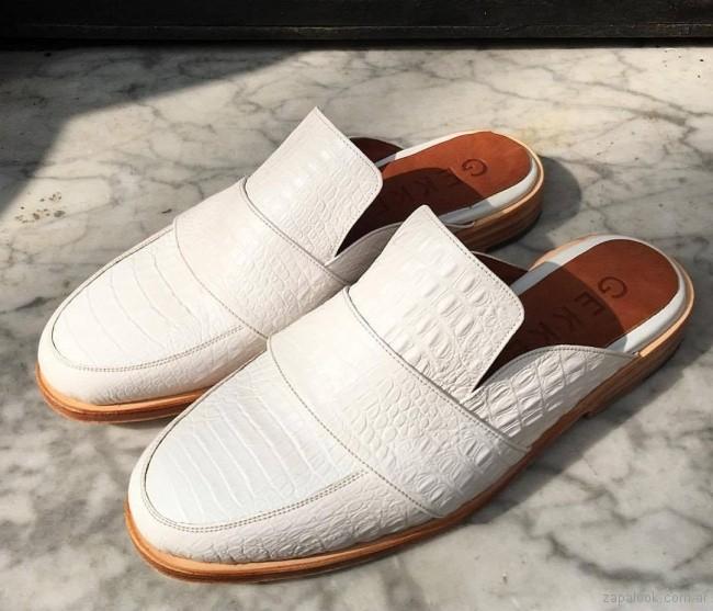 d2fa01470904b zapatos mocasines destalonados blancos verano 2018 - Los Gekkes