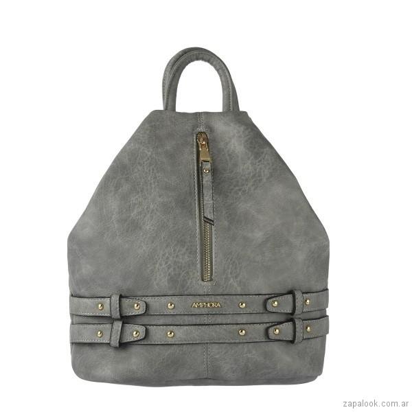 mochila de cuero gris verano 2018 - Amphora