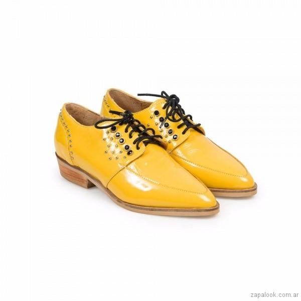 zapatos de mujer abotinados amarillos verano 2018 Margie Franzini