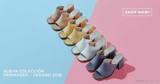 zuecos tonos pasteles primavera verano 2018 - Calzados Lucerna