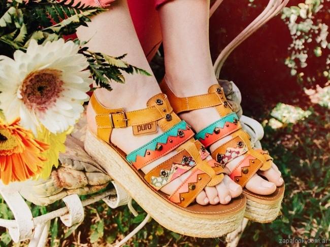 Sandalias multiples tiras verano 2018 - PURO