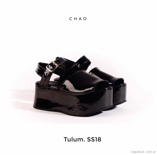 Sandalias negras de charol verano 2018 - Chao Shoes